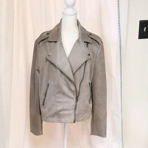 NWT Philosophy taupe faux suede moto jacket